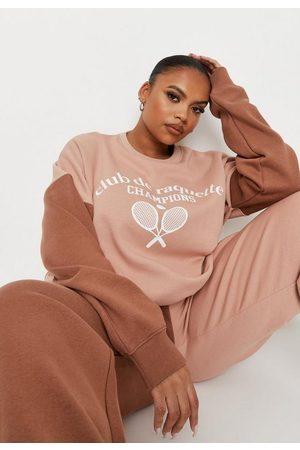 Missguided Plus Size Colorblock Graphic Sweatshirt