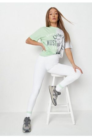Missguided Tall Lime Colorblock Graphic Oversized T Shirt