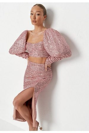 Missguided Sequin Ruched Puff Sleeve Top And Skirt Co Ord Set