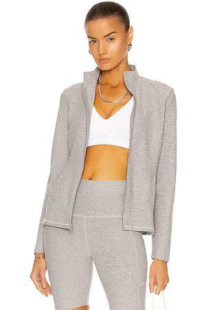 Beyond Yoga On the Go Mock Neck Jacket in Light Grey