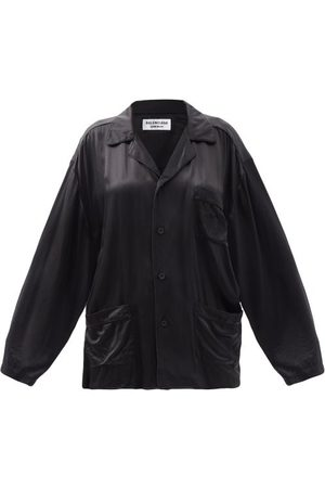 Balenciaga Oversized Patch-pocket Silk-satin Shirt - Womens