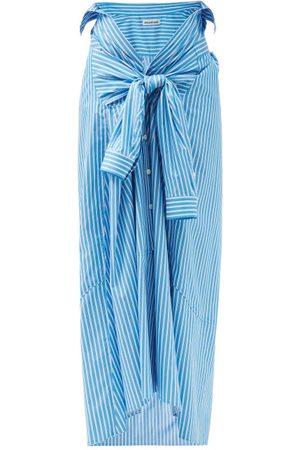 Balenciaga Women Maxi Skirts - Self-tie Belted Striped Cotton-poplin Midi Skirt - Womens - Stripe