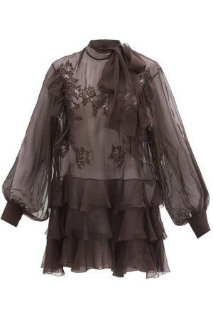 VALENTINO Women Blouses - Pussy-bow Lace-trimmed Silk-chiffon Blouse - Womens - Dark