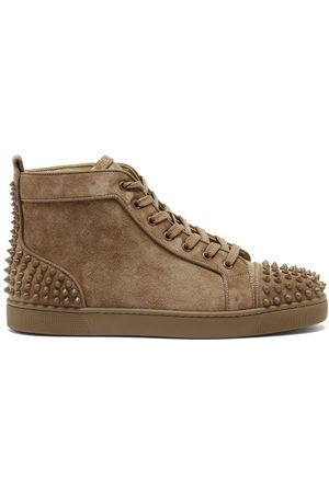 Christian Louboutin Lou Spike-embellished Suede High-top Trainers - Mens