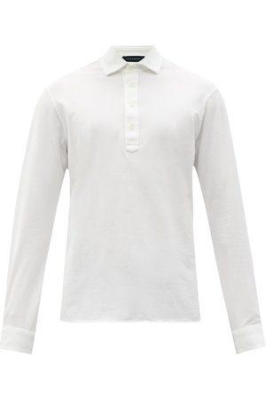 Thom Sweeney Men Polo Shirts - Long-sleeved Cotton-jersey Polo Shirt - Mens