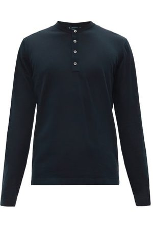 Thom Sweeney Mother-of-pearl Button Cotton Henley T-shirt - Mens - Navy
