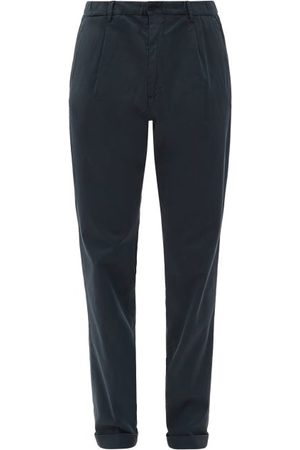 Thom Sweeney Pleated Cotton-twill Chinos - Mens - Navy