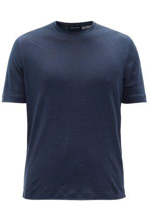 Thom Sweeney Linen-jersey T-shirt - Mens - Navy