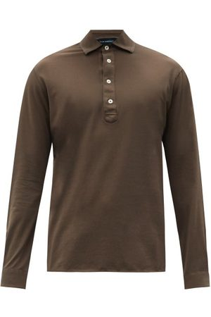 Thom Sweeney Long-sleeved Cotton-jersey Polo Shirt - Mens - Khaki
