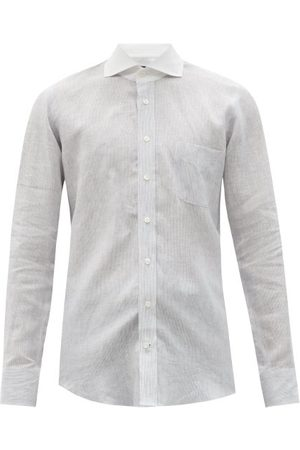 Thom Sweeney Patch-pocket Striped Linen Shirt - Mens - Grey