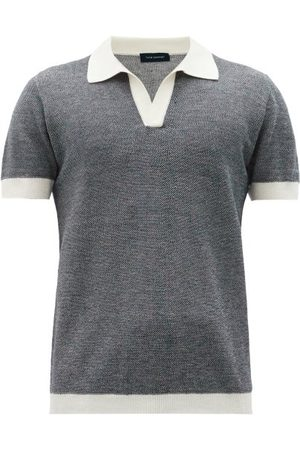 Thom Sweeney Men Polo Shirts - Open-collar Cotton-blend Polo Shirt - Mens - Grey