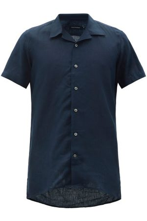Thom Sweeney Cuban-collar Linen Shirt - Mens - Navy