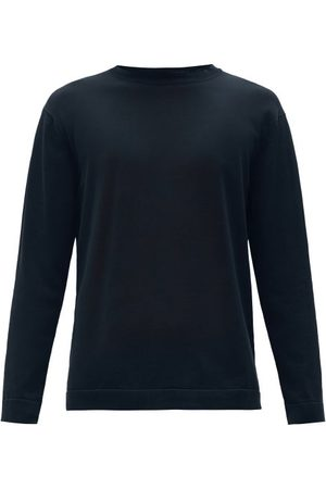 Thom Sweeney Crew-neck Cotton-jersey Sweater - Mens - Navy