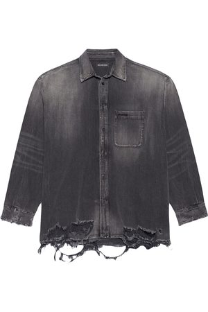 Balenciaga Destroyed-hem denim shirt - Grey