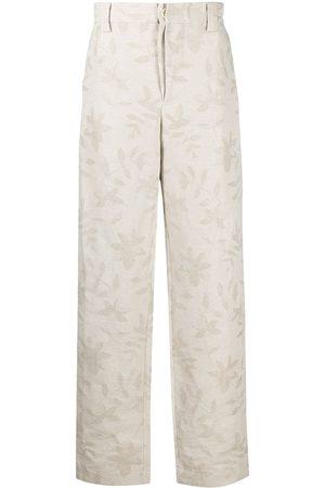 Jacquemus Leaf-pattern wide-leg trousers - Neutrals