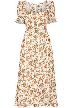 Reformation Alta floral-print midi dress - Neutrals