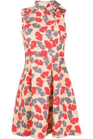 Bambah Printed tie-neck mini dress