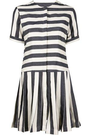 Bambah Striped denim mini dress