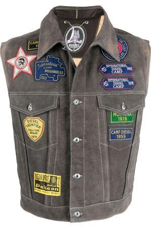 Diesel Men Gilets - Patchwork sleeveless jacket - Grey