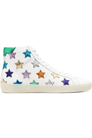 Saint Laurent Metallic-star leather sneakers