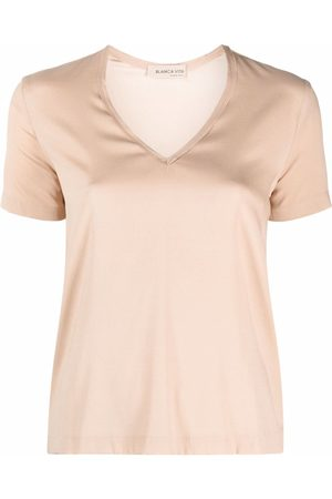 BLANCA V-neck stretch-silk T-shirt - Neutrals