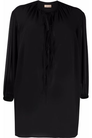 BLANCA Begonia lace-up front blouse
