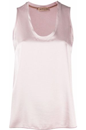 BLANCA Satin scoop-neck tank top