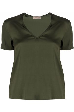BLANCA V-neck stretch-silk T-shirt
