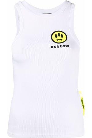 BARROW Logo print ribbed tank top
