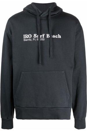 IRO Slogan-print drawstring hoodie - Grey