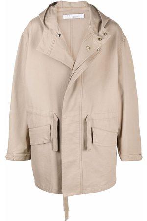 IRO Hooded single-breasted coat - Neutrals