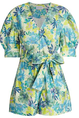 TANYA TAYLOR Women's Becky Floral Puff-Sleeve Romper - Hibiscus Floral Neon Multi - Size 10