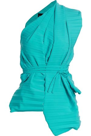 A.W.A.K.E. MODE Women's One-Shoulder Pleated Wrap Top - Turquoise - Size 8