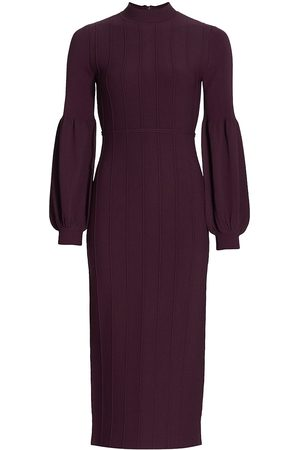 LELA ROSE Women Knitted Dresses - Women's Ottoman Knit Full Sleeve Sheath Dress - Aubergine - Size Small
