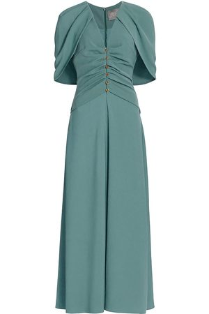 LELA ROSE Women Midi Dresses - Women's Capelet Crepe Midi Dress - Robins Egg - Size 14