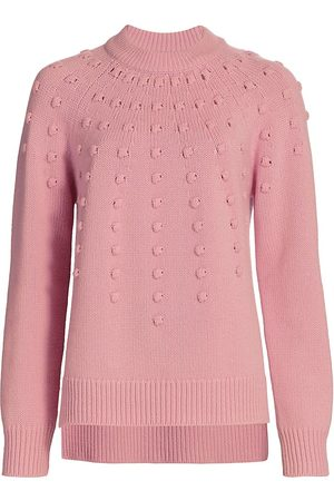 LELA ROSE Women's Dotted Cashmere Crewneck Sweater - Rose - Size Small