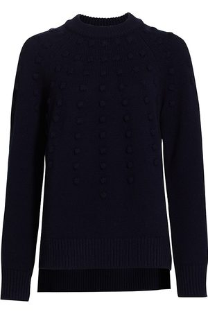 LELA ROSE Women's Dotted Cashmere Crewneck Sweater - Navy - Size XL