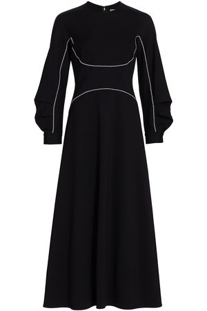 LELA ROSE Women's Jersey Seamed Full Sleeve Midi Dress - - Size 14