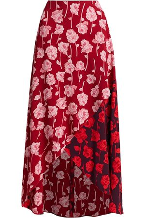 LELA ROSE Women Printed Dresses - Women's Double Face Rose Printed Crepe Midi Skirt - Cardinal Aubergine - Size 4