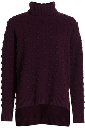 LELA ROSE Women's Dotted Turtleneck - Aubergine - Size XL