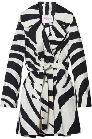 Carolina Herrera Women's Zebra Wide-Lapel Patch-Pocket Coat - - Size 12