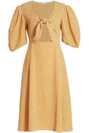 Rhode Women's Ginny Tie-Front Cutout Plaid Midi Dress - Sunflower - Size 4