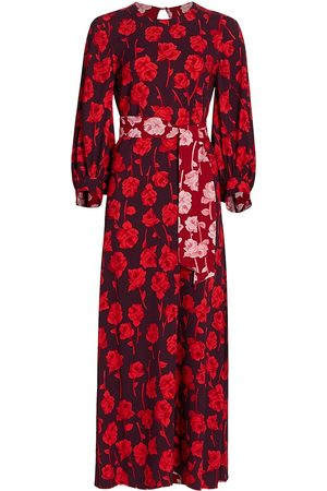 LELA ROSE Women's Double Face Rose Printed Crepe Midi Dress - Aubergine - Size 10
