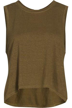 Frame Women's Swingy Linen Muscle Tank - Moss - Size Small