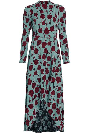 LELA ROSE Women's Double Face Rose Printed Crepe Long Sleeve Midi Dress - Robins Egg - Size 8