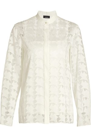 AKRIS Women's Embroidered Tulle Blouse - Cardboard - Size 10