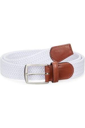 Saks Fifth Avenue Men's COLLECTION Leather-Trim Woven Cotton Belt - - Size 40