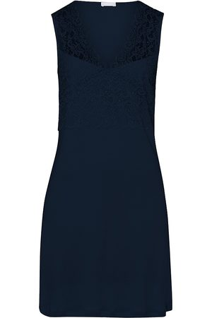 Hanro Women's Moments Lace-Trimmed Tank Sleep Dress - Deep Navy - Size Large