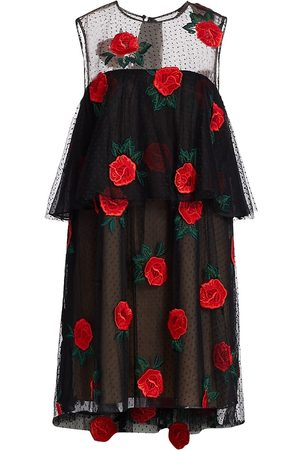 LELA ROSE Women's Rose-Embroidered Tulle A-Line Dress - Cardinal - Size 12