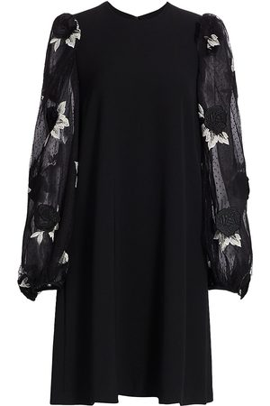 LELA ROSE Women's Rose Embroidered Tulle Full Sleeve Tunic Dress - - Size 4